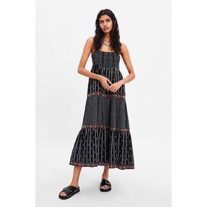 Zara Black Embroidered Beaded Boho Maxi Dress S